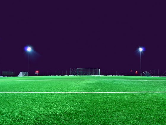 A football field and the goal